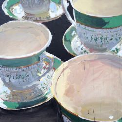 Tea Cups and Saucers (Green)