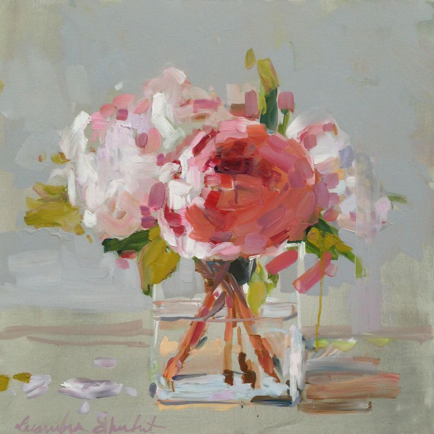 Peonies in glass stellers gallery for Painting large flowers in acrylic