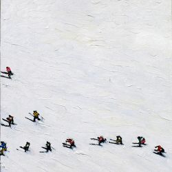 Skiers With Shadows