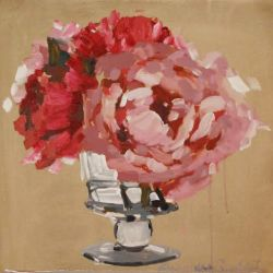 Pink Peonies in a Glass Vase