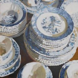 Blue and White Cups and Plate