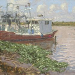 Red Trawler and Water Hyacinths