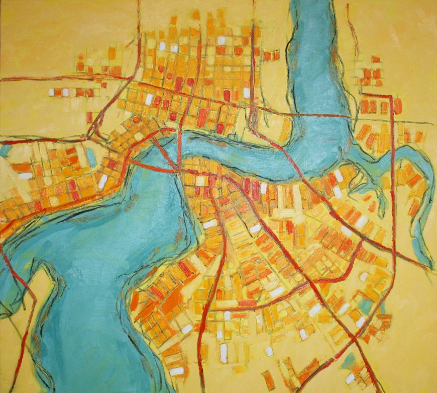 City Map of River with Yellow