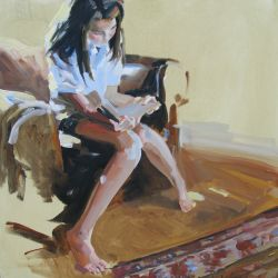 Alexandra Reading in the Den