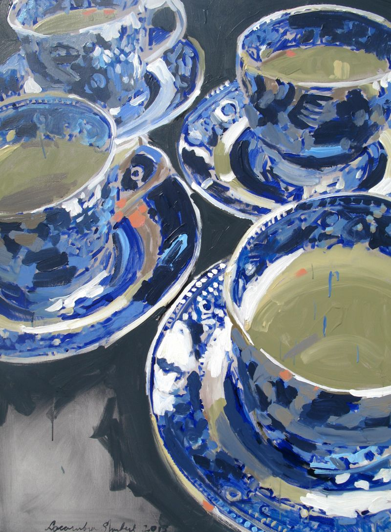 Blue and white tea cups48x36